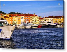 Boats At St.tropez Harbor Acrylic Print by Elena Elisseeva