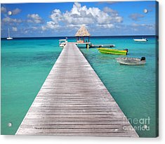 Boats At The Jetty In A Tropical Turquoise Lagoon Acrylic Print