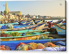 Boats Being Readied For Fishing Acrylic Print