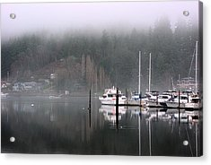 Boats Between Water And Fog Acrylic Print