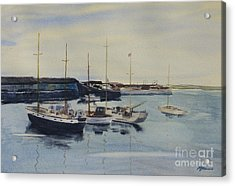 Boats In A Harbour Acrylic Print by Martin Howard