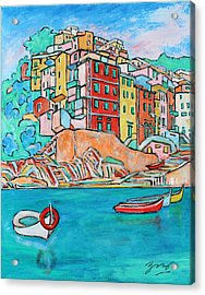 Boats In Front Of The Buildings X Acrylic Print by Xueling Zou