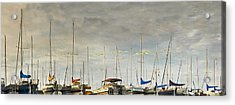Acrylic Print featuring the photograph Boats In Harbor Reflection by Peter v Quenter