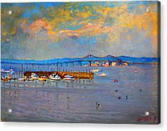 Boats In Piermont Harbor Ny Acrylic Print by Ylli Haruni