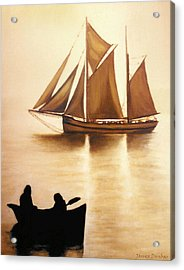 Boats In Sun Light Acrylic Print