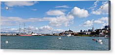 Boats In The Bay, Transamerica Pyramid Acrylic Print by Panoramic Images