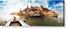 Boats In The Ganges River, Varanasi Acrylic Print