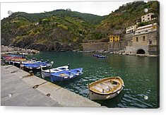 Boats In Vernazza Acrylic Print