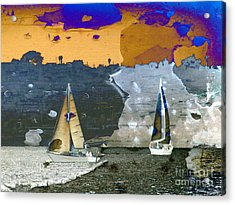 Acrylic Print featuring the digital art Boats by Irina Hays