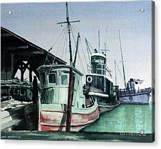 Acrylic Print featuring the painting Boats by Joey Agbayani