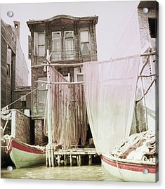 Boats Moored By A House In Turkey Acrylic Print