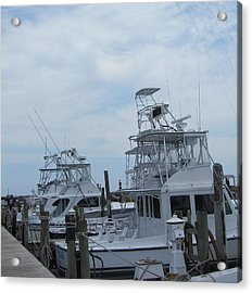 Boats Of Oregon Inlet Acrylic Print by Cathy Lindsey