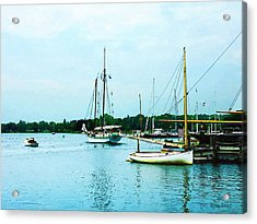 Acrylic Print featuring the photograph Boats On A Calm Sea by Susan Savad