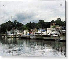 Acrylic Print featuring the photograph Boats On A Cloudy Day Essex Ct by Susan Savad
