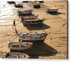 Boats On Beach Acrylic Print by Pixel  Chimp