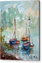 Acrylic Print featuring the painting Boats On Lake  by Faruk Koksal