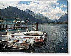 Boats On Lake Mcdonald Acrylic Print by Nina Prommer