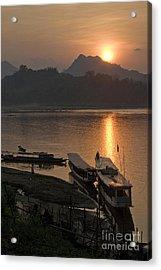 Boats On River By Luang Prabang Laos  Acrylic Print