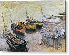 Boats On The Beach Acrylic Print by Claude Monet