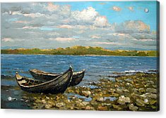 Acrylic Print featuring the painting Boats On The River by Dmitry Spiros