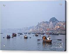 Boats On The River Ganges At Varanasi In India Acrylic Print by Robert Preston