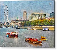 Boats On The River Thames And The London Eye Acrylic Print