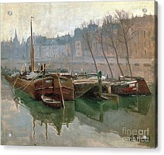 Boats On The Seine Acrylic Print by Roberto Prusso