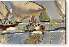 Boats On The Shore Acrylic Print by Joaquin Sorolla y Bastida