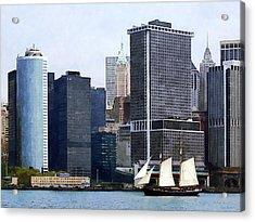 Boats - Schooner Against The Manhattan Skyline Acrylic Print by Susan Savad