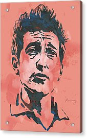 Bob Dylan - Stylised Etching Pop Art Poster Acrylic Print by Kim Wang