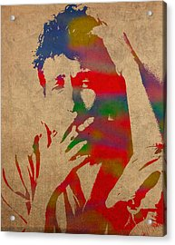 Bob Dylan Watercolor Portrait On Worn Distressed Canvas Acrylic Print by Design Turnpike