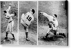 Bob Feller Pitching Acrylic Print by R Muirhead Art