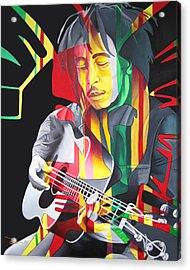 Bob Marley And Rasta Lion Acrylic Print by Joshua Morton