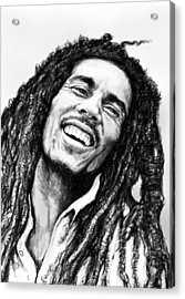 Bob Marley Art Drawing Sketch Portrait  Acrylic Print by Kim Wang