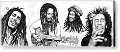 Bob Marley Art Drawing Sketch Poster Acrylic Print by Kim Wang