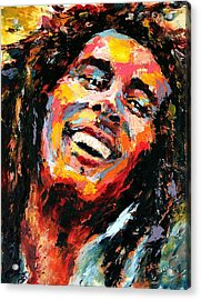 Bob Marley Acrylic Print by Derek Russell