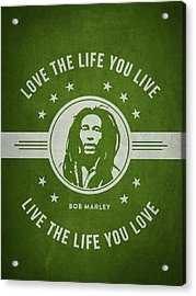 Bob Marley - Green Acrylic Print by Aged Pixel
