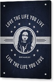 Bob Marley - Navy Blue Acrylic Print