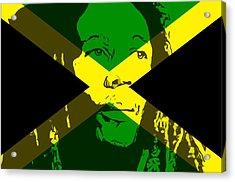 Bob Marley On Jamaican Flag Acrylic Print
