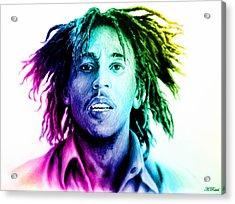 Bob Marley  Rainbow Effect Acrylic Print by Andrew Read