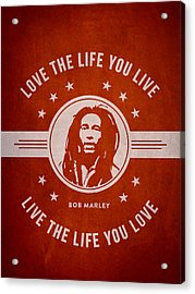 Bob Marley - Red Acrylic Print by Aged Pixel