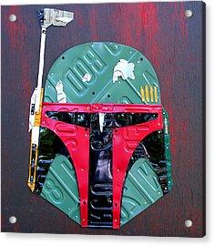 Boba Fett Star Wars Bounty Hunter Helmet Recycled License Plate Art Acrylic Print by Design Turnpike