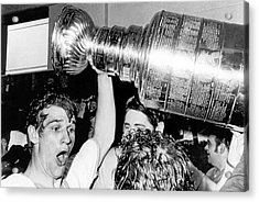 Bobby Orr With Stanley Cup Acrylic Print by Underwood Archives
