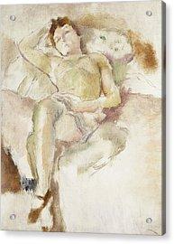Bobette Lying Down Bobette Allongee Acrylic Print by Jules Pascin