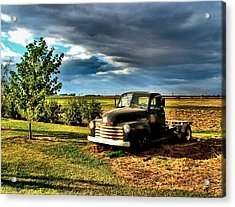 Bob's Old Chevy Truck In The Spring Acrylic Print by Julie Dant