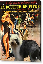 Bobtail -  Old English Sheepdog Art Canvas Print - La Dolce Vita Movie Poster Acrylic Print