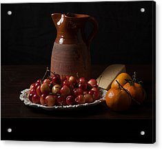 Bodegon With Cherries-oranges And Cheese Acrylic Print by Levin Rodriguez