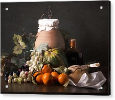 Bodegon With Grapes-watermelon And Big Jar Acrylic Print by Levin Rodriguez