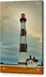Bodie Lighthouse Outer Banks Abstract Painting Acrylic Print by Dan Carmichael
