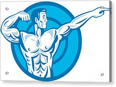 Bodybuilder Flexing Muscles Pointing Side Retro Acrylic Print by Aloysius Patrimonio